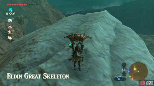 You can Paraglide to this skeleton from the Goron City