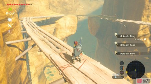 Beware the Bokoblins hanging out on this wooden boardwalk
