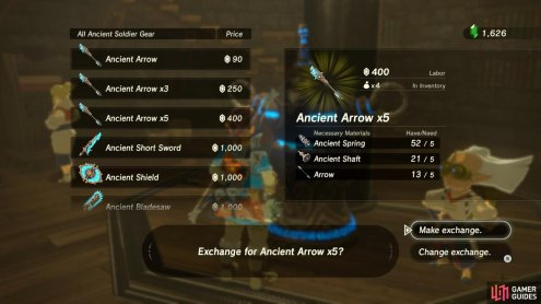 Come here for all anti-Guardian equipment, such as Ancient Arrows, which strike for more damage if they hit a Guardian