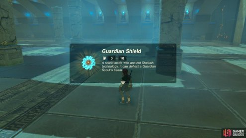 The Guardian Scout will drop whatever weapons and shields it had. You can take them.