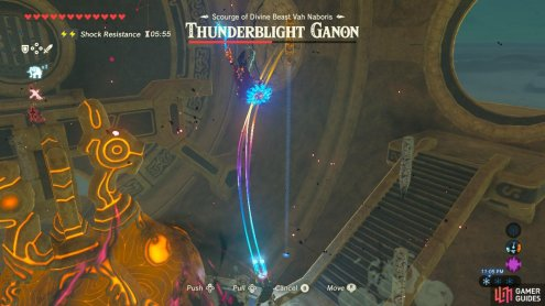 When you have time, yank one of the metal columns up and hit Thunderblight Ganon