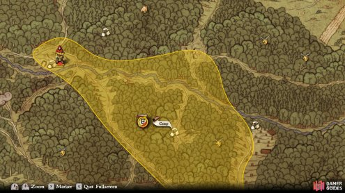 The bandits can be found at the camp in a clearance within the highlighted area.
