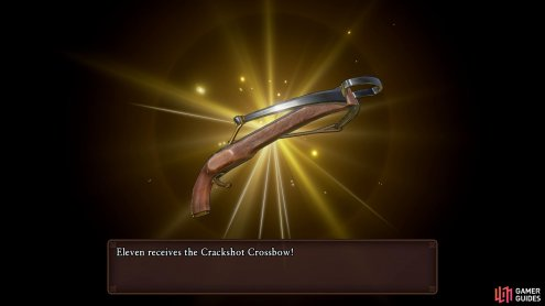 You'll receive the Crossbow from Faris as thanks for helping him