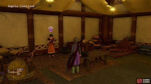 You'll find the monk outside the Inn of Angri-La