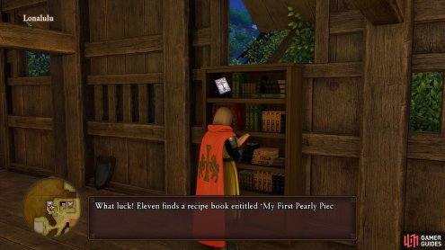 The first Recipe Book can be found on the Armor shop's bookshelf