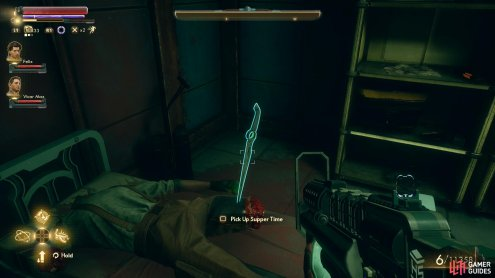 Be sure to grab the unique weapon Supper Time from the corpse.