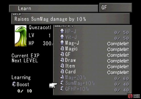 and have it learn abilities like SumMag +10% to boost its power