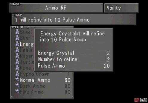 and refine Elnoyles into Energy Crystals and Energy Crystals into Pulse Ammo