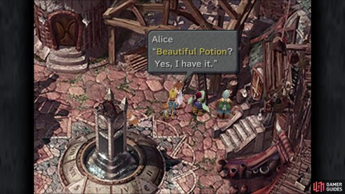 Talk to Alice, the item shopkeeper, to get the Beautiful Potion