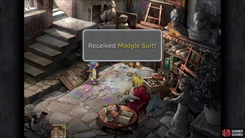Although not important, you can grab Lowell's Moogle Suit near him in the studio