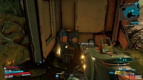 where you'll find a Dead Claptrap leaning against a Storage Container.