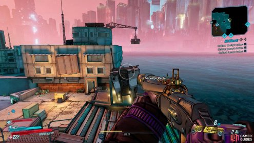 You'll be able to find the first Dead Claptrap abandoned on a rooftop near the Market Quarter,