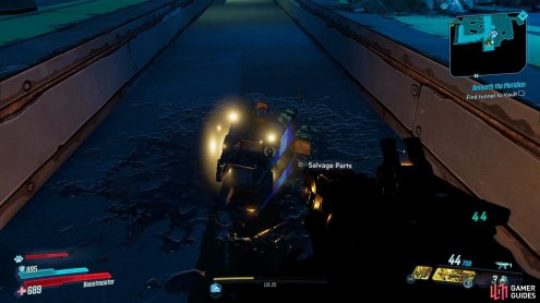 You'll be able to find the Dead Claptrap laying in the track at the Green Diamond Station,