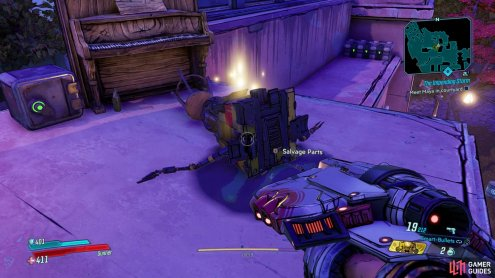 and climb the stairs and crate to find this Claptrap.