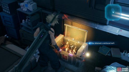 Loot a chest in Aerith's room to score a Reinforced Staff,