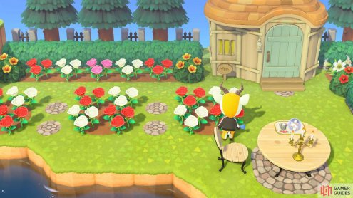You can use the dirt path design to create small flower beds