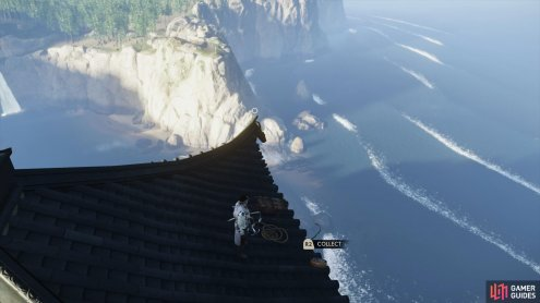 then climb to the top of it with your grappling hook to retrieve your piece of gear.