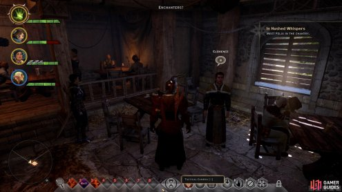 Speak with Clemence in the main room of the tavern before you leave.