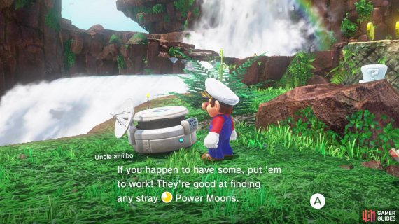 You can use Amiibo to help find the locations of moons