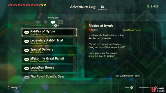 Riddles Of Hyrule Sidequests Quests The Legend Of Zelda Breath Of The Wild Gamer Guides