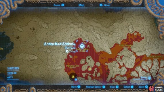 Here is the specific location of Shora Hah Shrine. It is reachable via Paraglider
