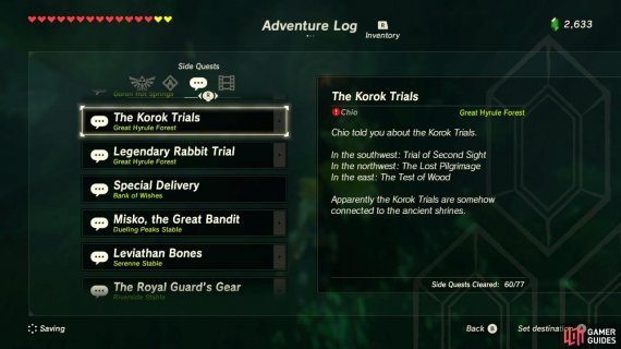 The Korok Trials Sidequests Quests The Legend Of Zelda Breath Of The Wild Gamer Guides
