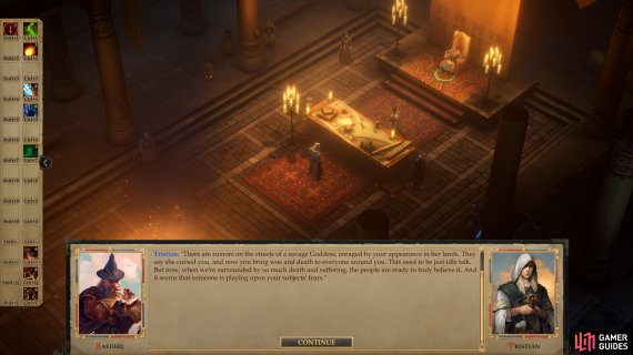 "Return to your throne room after this to start Tristian's companion quest ""Kingdom of the Cleansed""."