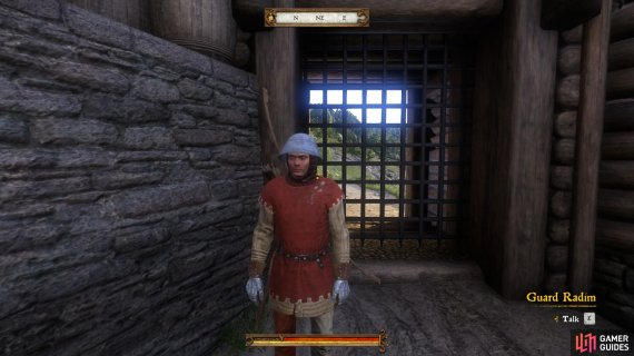 Speak to Guard Radim about leaving the castle.