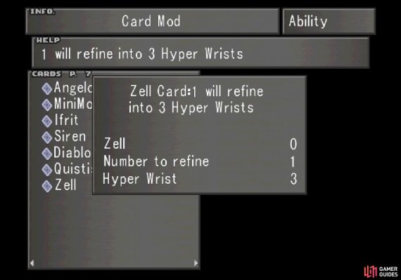 You can use Card Mod to refine Zell into three Hyper Wrists