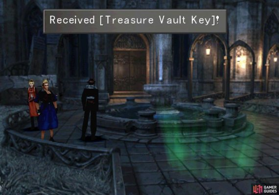 Find the Treasure Vault Key in the courtyard near the fountain