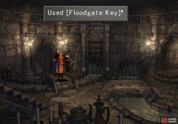 Return to the dungeon near where you fought Red Giant  and use the key to unlock a lever and pull it to drain some water.