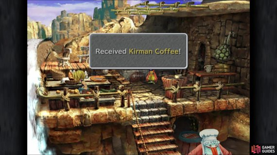 Once you gain access to the cooking area, grab the Kirman Coffee on the left side