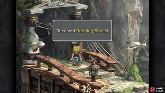 After the scene is over, check the clock for some Running Shoes