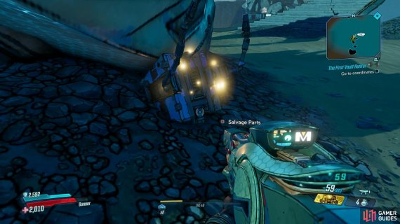 the Dead Claptrap can be found among the debris.