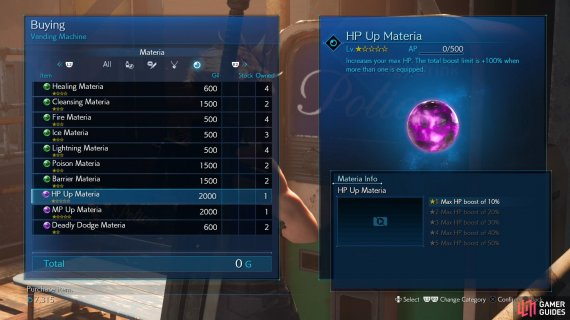 Less difficult to obtain are HP Up Materia and MP Up Materia, which can be found at vending machines.