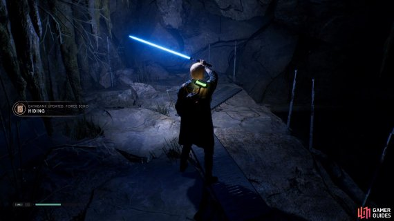 Use your Lightsaber to brighten the cave and collect the Hiding Force Echo from the ground