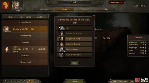 Select the 'Parties' tab in your clan menu to choose a companion that will lead a new party.
