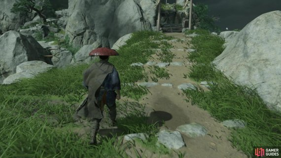 You can see some rocks off to the left that begin the path to the shrine