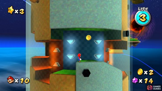 the gravity walls determine which way up Mario walks.