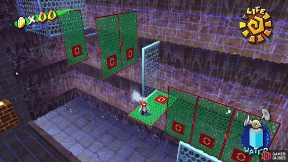 Use your spray nozzle to rotate the green mesh platforms