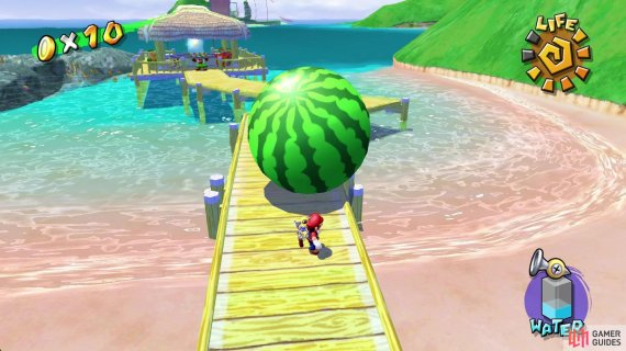 and similarly, if the watermelon falls of the boardwalk you'll also need to grab a new one!