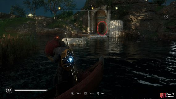 Take the fire pot from the boat and use it to destroy the barricade, circled here in red.