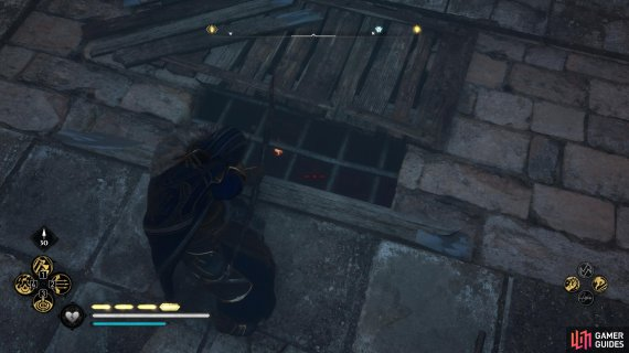Shoot the fire pots from the hole above the ruins to destroy the barricade at the entrance.