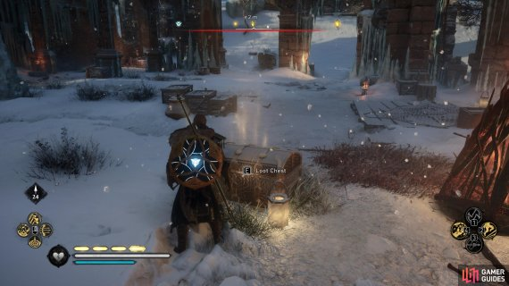 You'll find the chest in the centre of the ruins, surrounded by Jotnar.