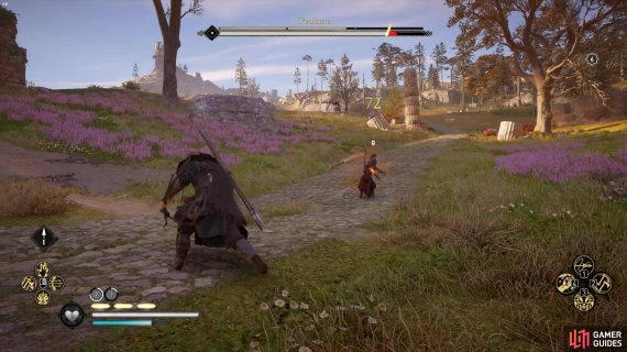 Wealdmear throws javelins if you keep your distance from him