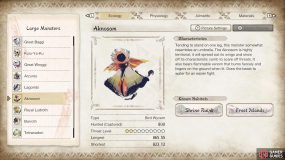 Aknosom's profile from the in-game Hunter's Notes.