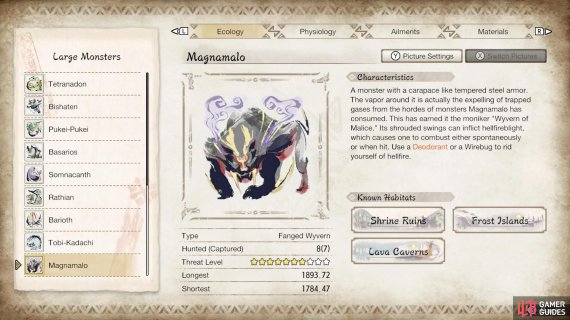 Magnamalo's profile in the Hunter's Notes.