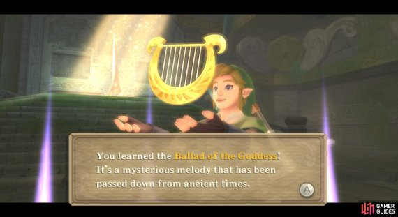 By the way, the Ballad of the Goddess is Zelda's Lullaby, played backwards!