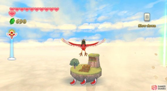 After activating the Temple of Time Goddess Cube, sky-dive to the tallest part of Beedle's Island.