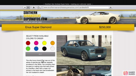or purchase it off Southern San Andreas Super Auto for $250,000.